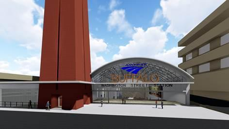 This concept flips the station entrance to the south side of the I-190 and elevates it to the Washington and Main street grades.