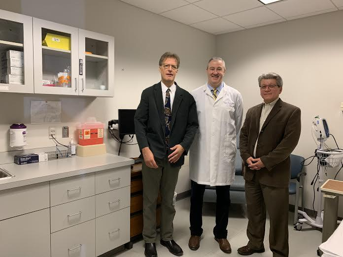 Mark Schmitt, PhD (left), Dr. Stephen Thomas and Dr. Timothy Endy at SUNY Upstate Medical University.
