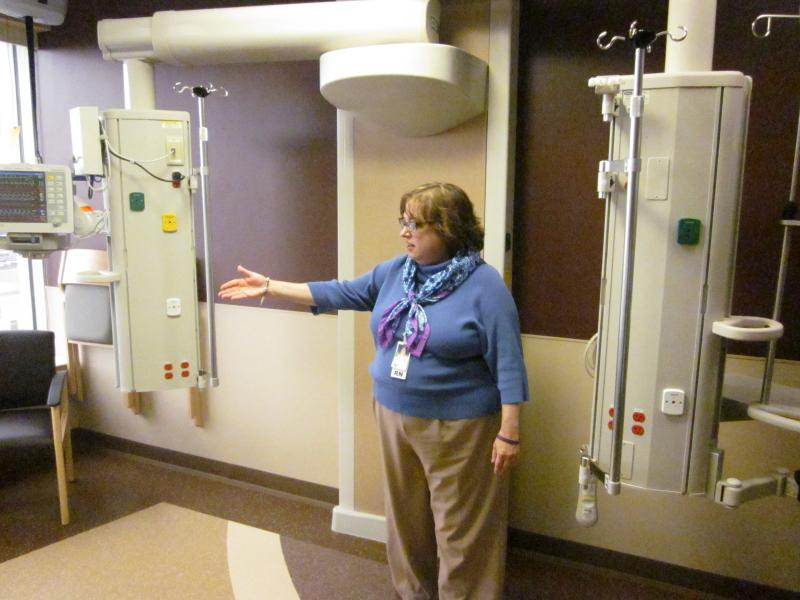 Chief Nursing Officer Maureen Kelly shows off some equipment in the new, state-of-the-art ICU.