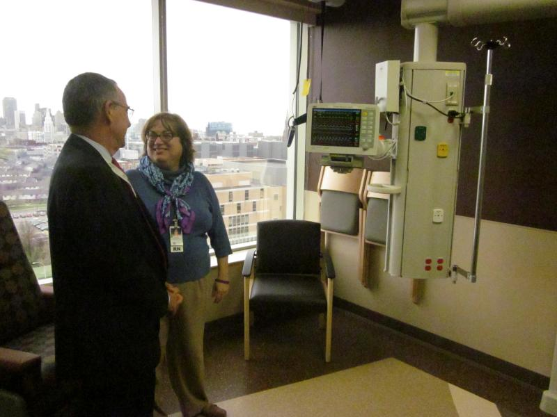 Trump and Kelly show off the new ICU's large, scenic window views.