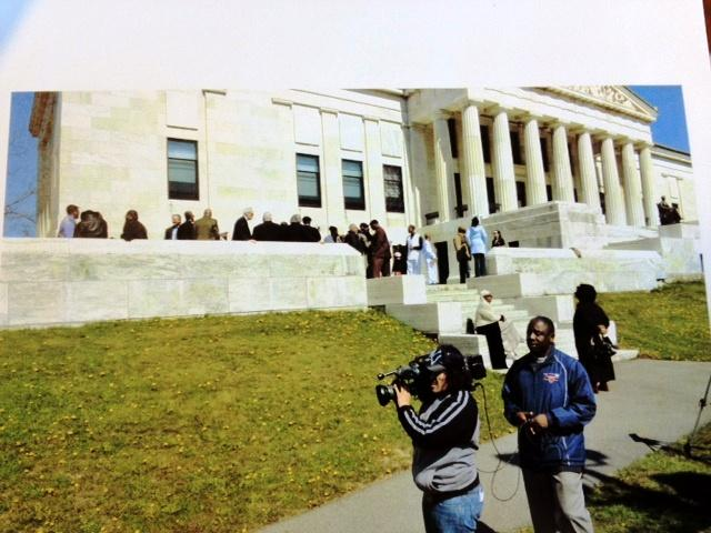 """Creating """"A Great Day in Buffalo"""" on steps of Historical Society"""