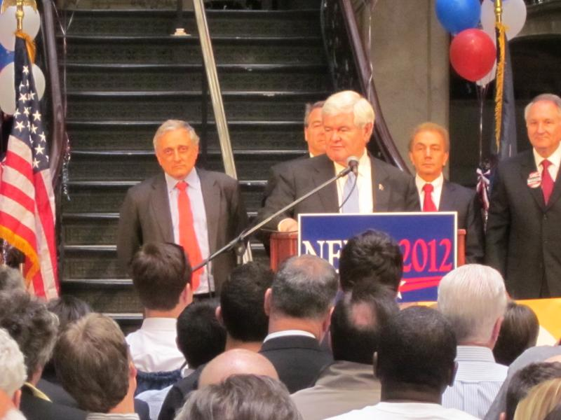 Newt Gingrich speaks to Buffalo supporters at Ellicott Square Building