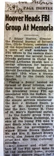 News cliping on Haberfeld's death