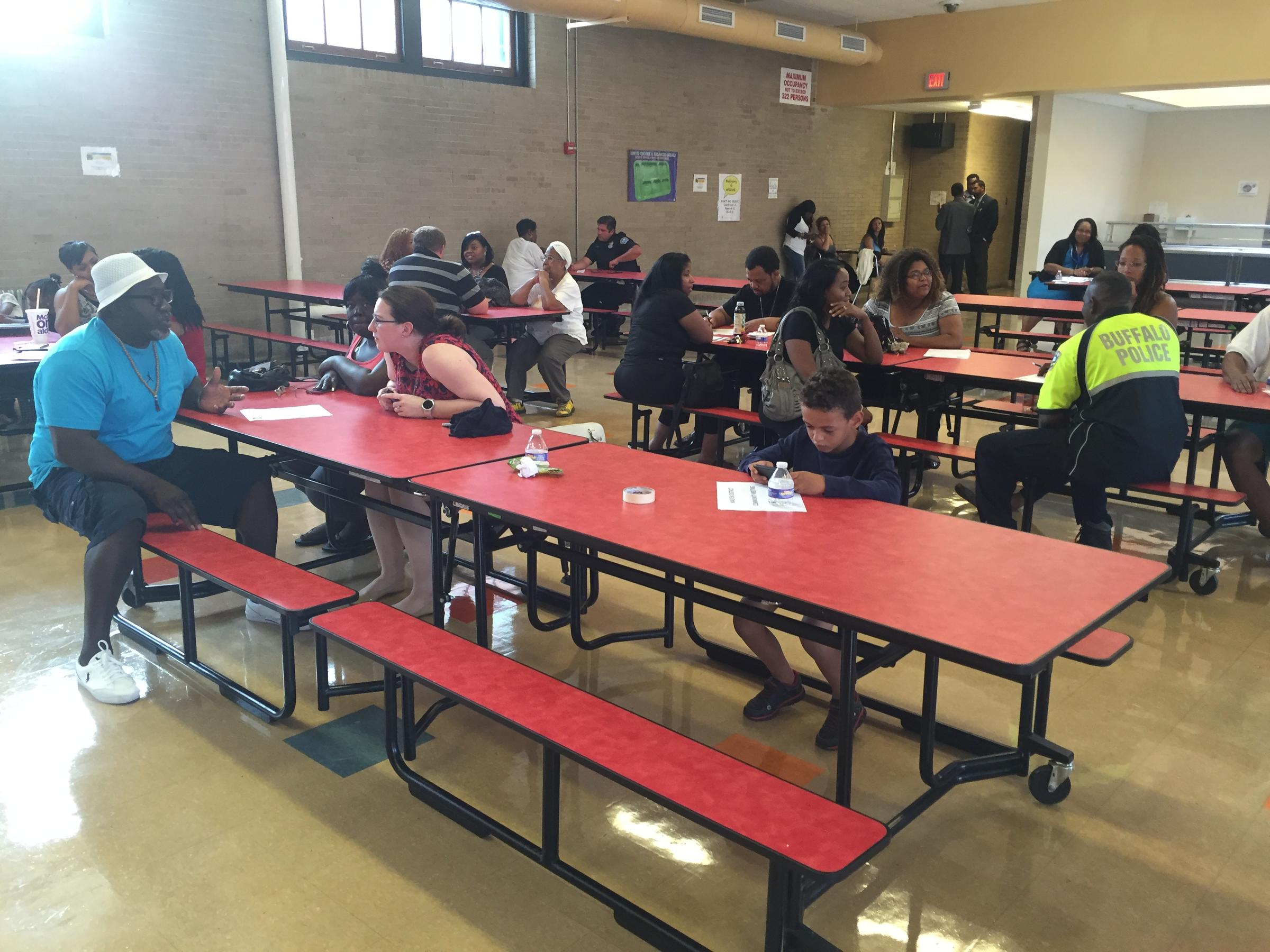 high school lunch table. In The Burgard High School Cafeteria, Residents Sit Down With Police For \ Lunch Table H