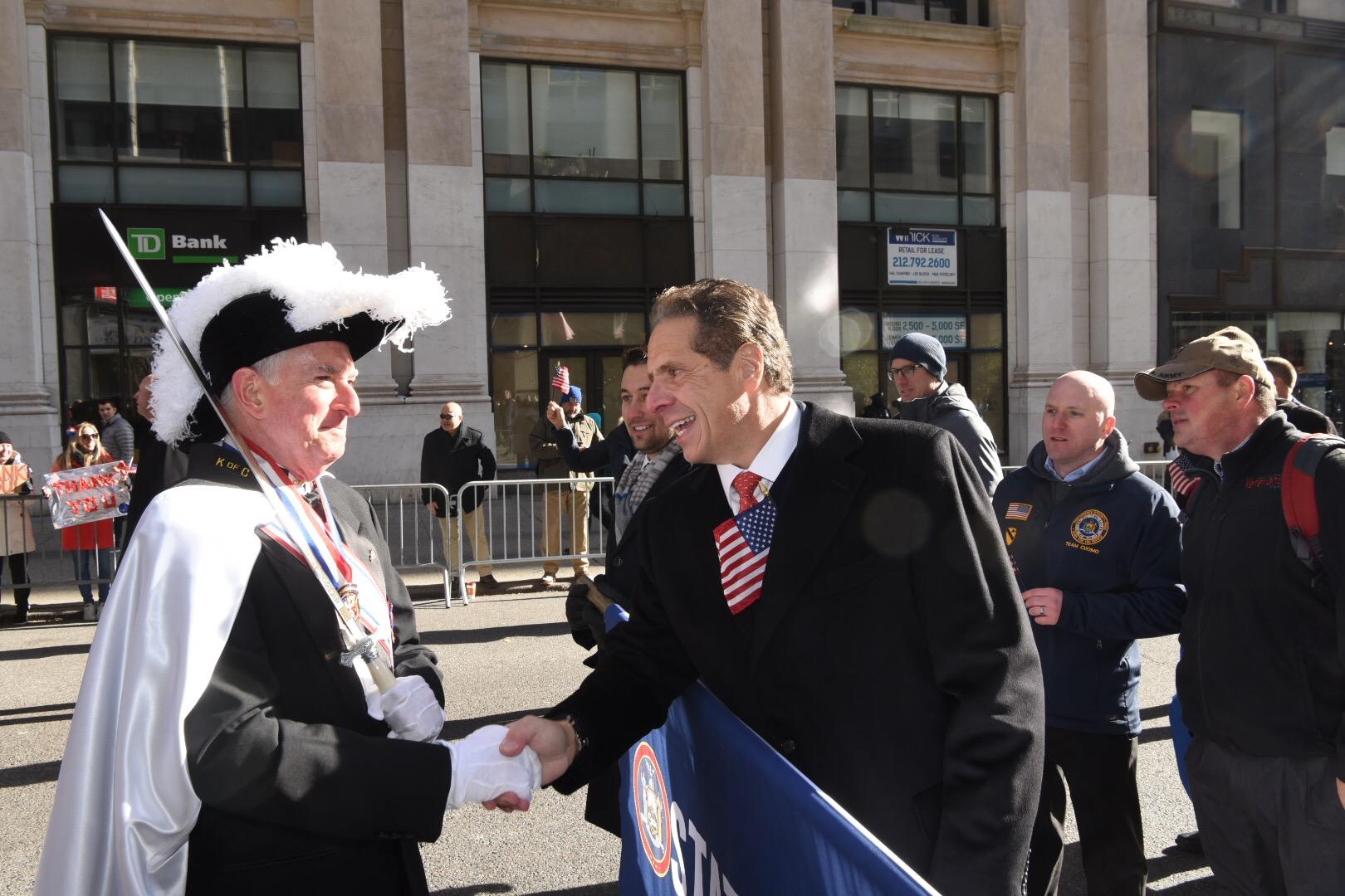 Governor Andrew Cuomo participates in Veterans Day parade in New York City