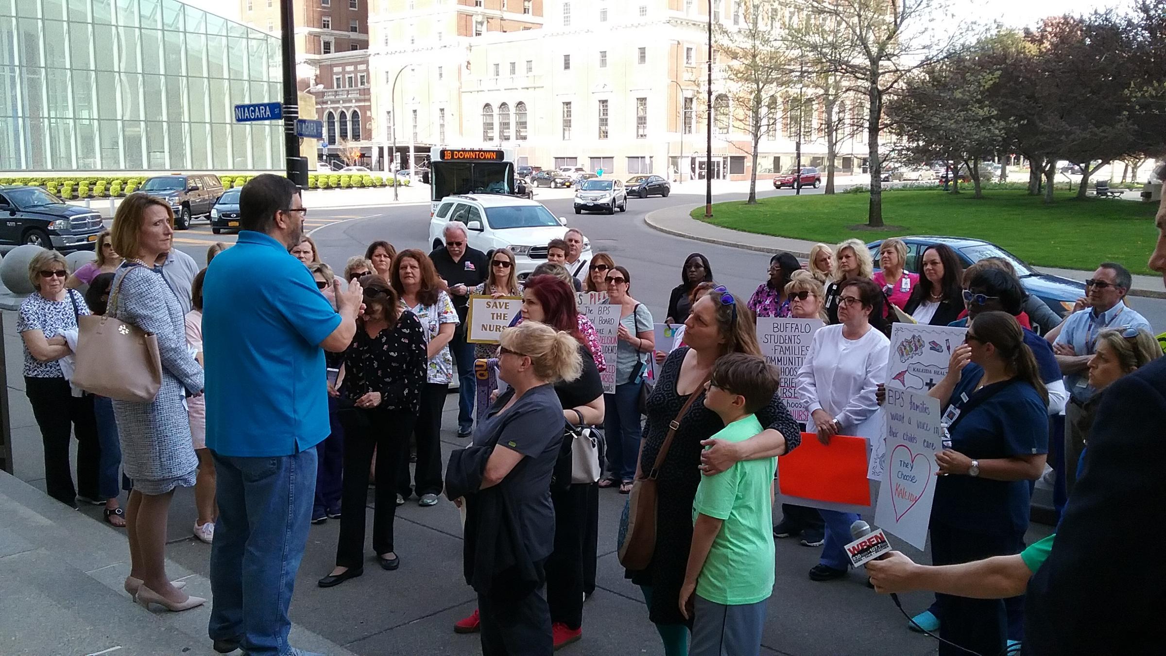 Kalieda nurses rallied outside City Hall before