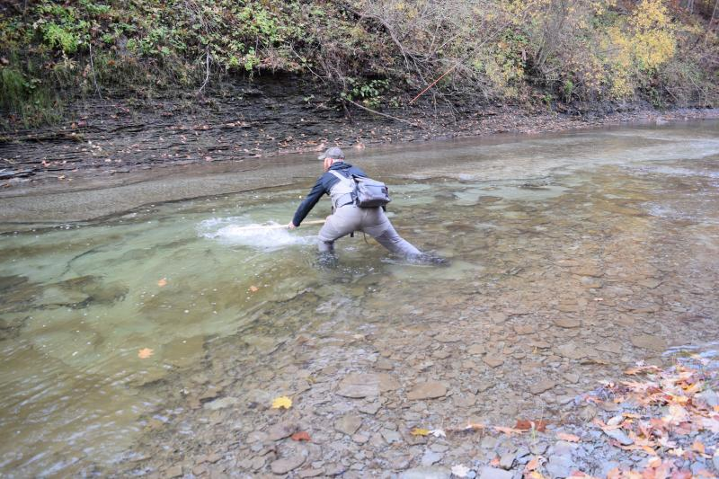 Patrick Robinson goes to catch a fish in Elk Creek