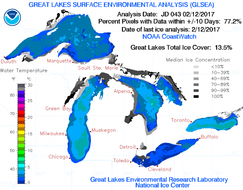 Total Great Lakes ice coverage as of 2/12/2017