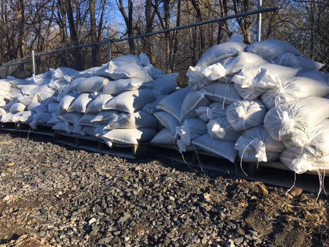 Sand bags stacked at Sodus Point, NY
