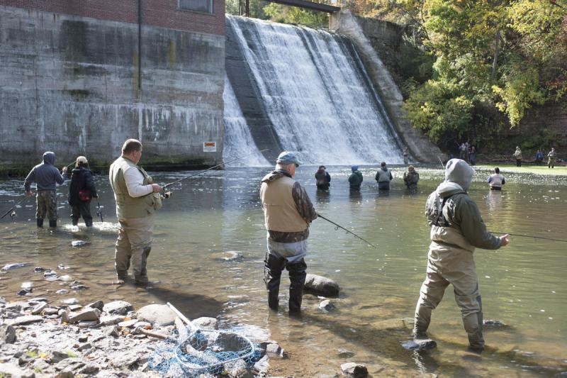 Fishing along 18 Mile Creek