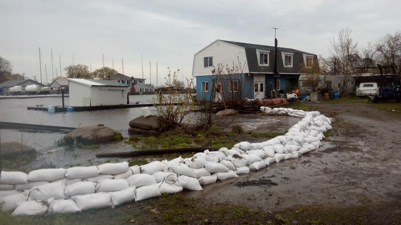 Sandbags in Olcott, N.Y.