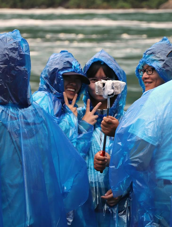 Tourists on the Maid of the Mist tour boat in Niagara Falls.