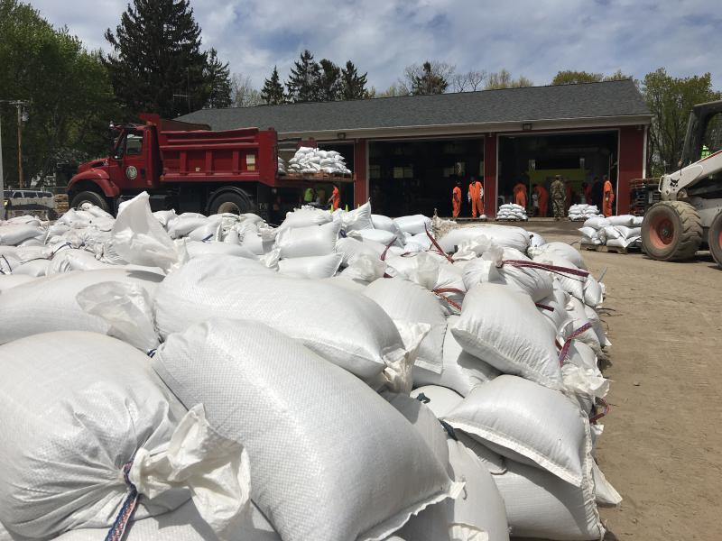 Sandbags are piled up at Sodus Point during 2017 floods.
