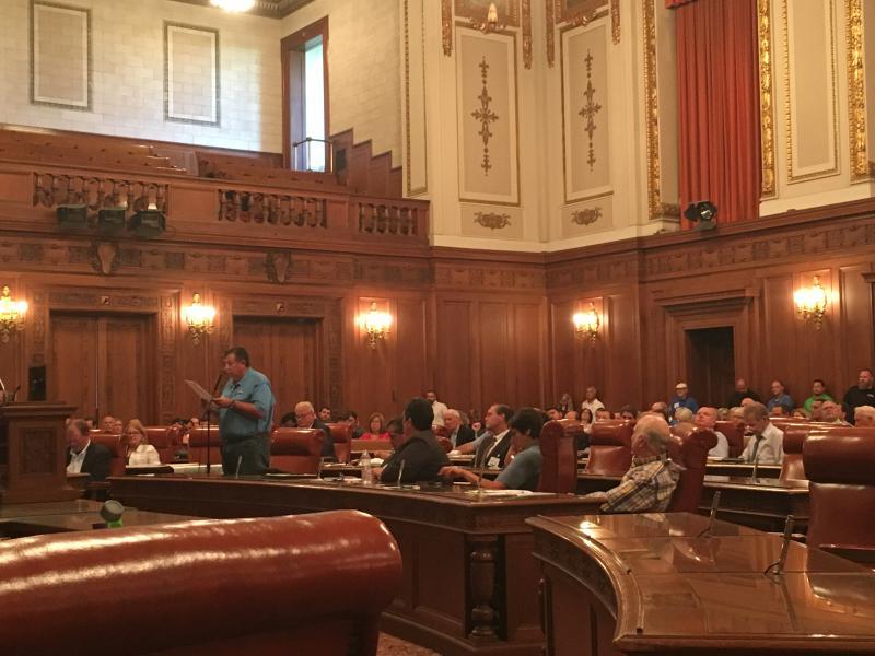 Carl Scheutzow testifies at Thursday's public hearing