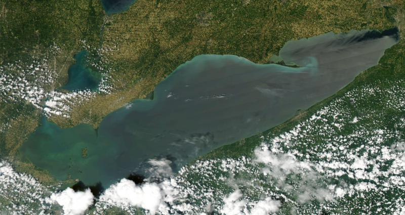 Satellite image of Lake Erie from July 3, 2018