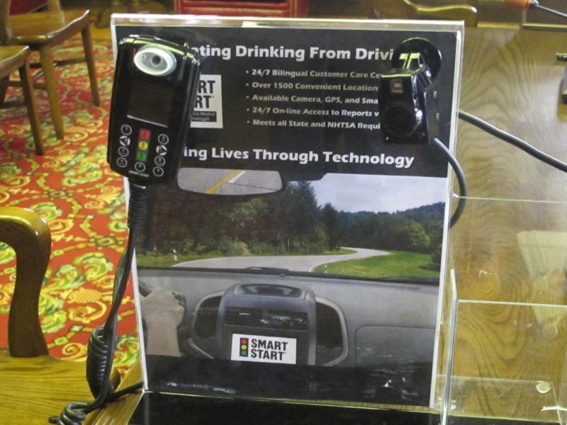 Ignition interlock device displayed at  Assembly committee hearing.