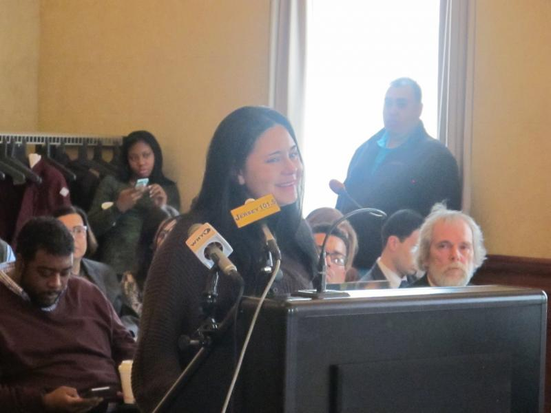 Spotswood resident Keesha Sanchez testifies at review panel hearing.