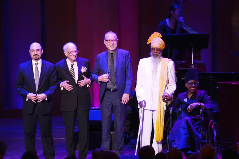 The 2017 NEA Jazz Masters on April 3, 2017 at the John F. Kennedy Center for the Performing Arts. (left to right): Representing Ira Gitler, Fitz Gitler; Dick Hyman; Dave Holland; Dr. Lonnie Smith; and Dee Dee Bridgewater