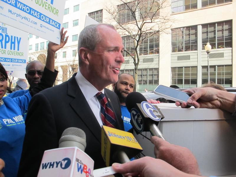 Phil Murphy arrives at NJ Division of Elections