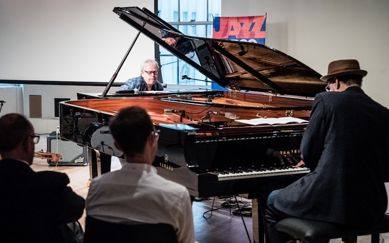Kenny Werner, left, and Andy Milne, right at the WBGO / Yamaha Salon Concert 'A Tribute to Erroll Garner.'