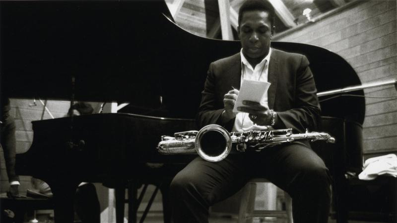 John Coltrane at the April 1966 recording for the album 'Cosmic Music.'