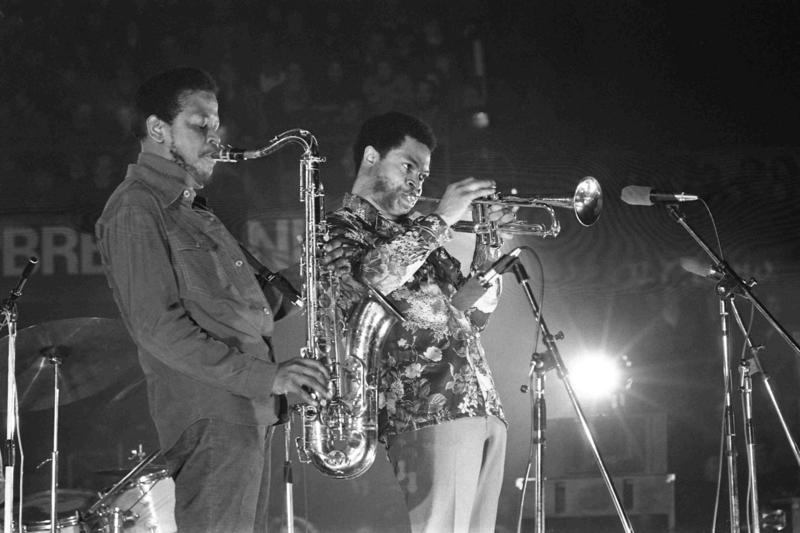 Woody Shaw, on trumpet, with Junior Cook in Bergamo, 1976