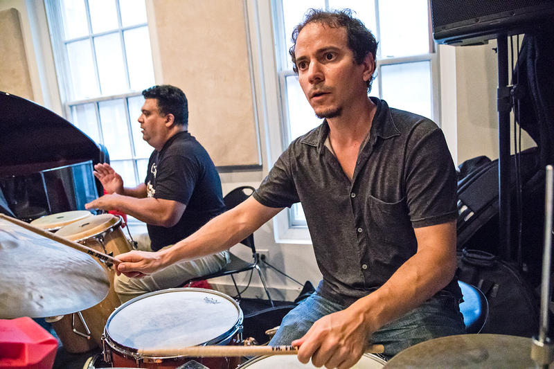 Dafnis Prieto, right, alongside Roberto Quintero in rehearsal at Michiko Studios, Aug. 22, 2017.