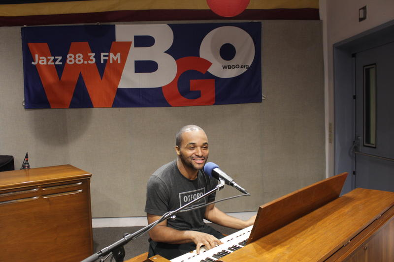 Sullivan Fortner at the organ, and the mic, in our studio in Newark.