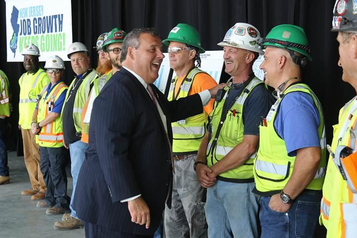 Gov. Christie meets with construction workers at American Dream site in East Rutherford.