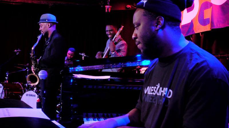 The Blue Note All-Stars, left to right: Marcus Strickland, Kendrick Scott, Derrick Hodge, Robert Glasper