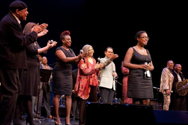 Cecile McLorin Salvant at the 2010 Thelonious Monk International Jazz Competition, onstage with Al Jarreau, Jane Monheit, Terence Blanchard, Ledisi, Patti Austin, Kurt Elling, Dee Dee Bridgewater, and Kevin Eubanks