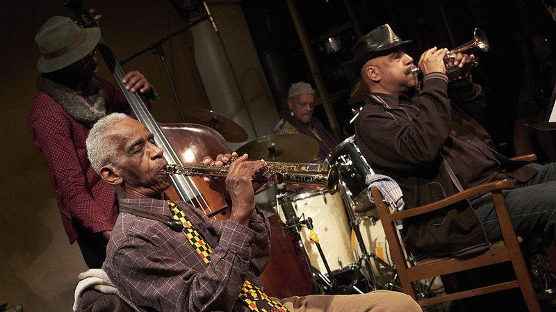 Roscoe Mitchell (saxophone), Hugh Ragin (piccolo trumpet), Junius Paul (bass) and Famadou Don Moye (drums) of the Art Ensemble of Chicago perform at London's Cafe OTO on Feb. 1, 2017.