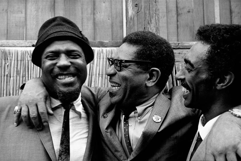 Thelonious Monk with Dizzy Gillespie and Gerald Wilson in Monterey, 1963. From 'Jim Marshall: Jazz Festival'