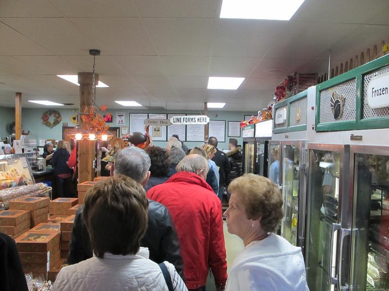 Customers line up at Hinck Turkey Farm store in Manasquan to get their turkeys.