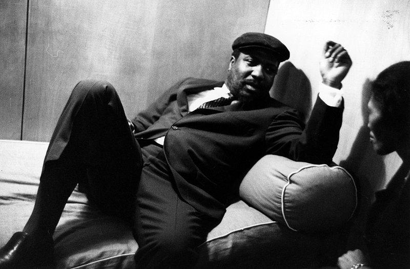 Thelonious Monk relaxes with his wife, Nellie, before performing at the Royal Festival Hall in London on April 29, 1961.
