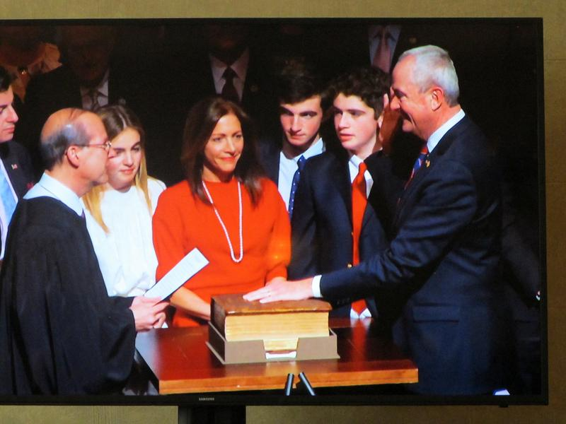 Chief Justice Stuart Rabner administers oath of office to Governor Phil Murphy