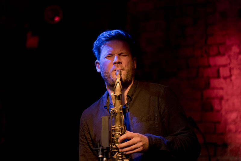 Saxophonist Andre Roligheten performing with Gard Nilssen Acoustic Unity at The Bitter End
