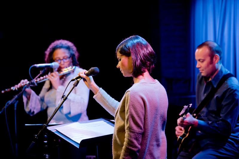 Pterodactyl at SubCulture: Nicole Mitchell on flute, Sara Serpa on vocals and Liberty Ellman on guitar