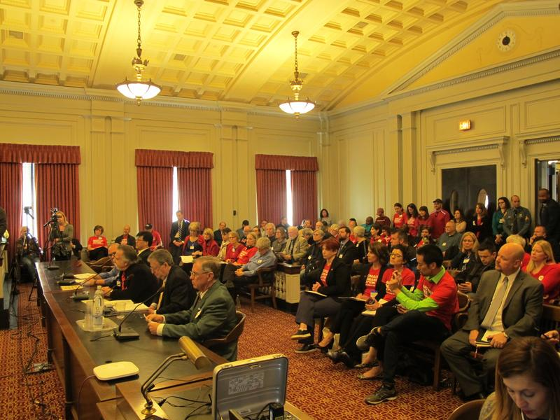 Opponents and supporters of the bills testify at Assembly Judiciary Committee hearing.