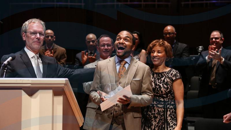 Sullivan Fortner, winner of the 2015 Cole Porter Fellowship, cradles his award in Indianapolis