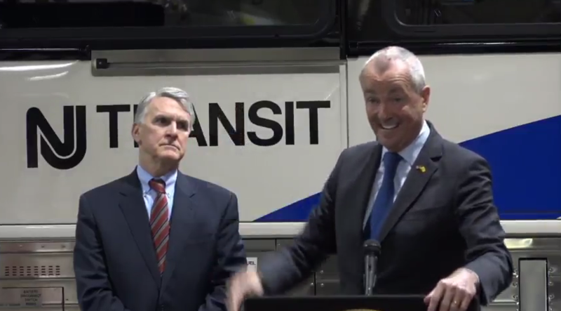 Kevin Corbett and Governor Phil Murphy highlight measures to improve bus service.