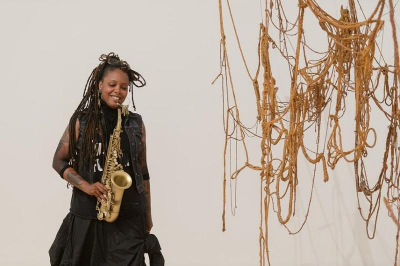 Matana Roberts alongside Eva Hesse's 'No Title, 1969–70' at the Whitney Museum of American Art