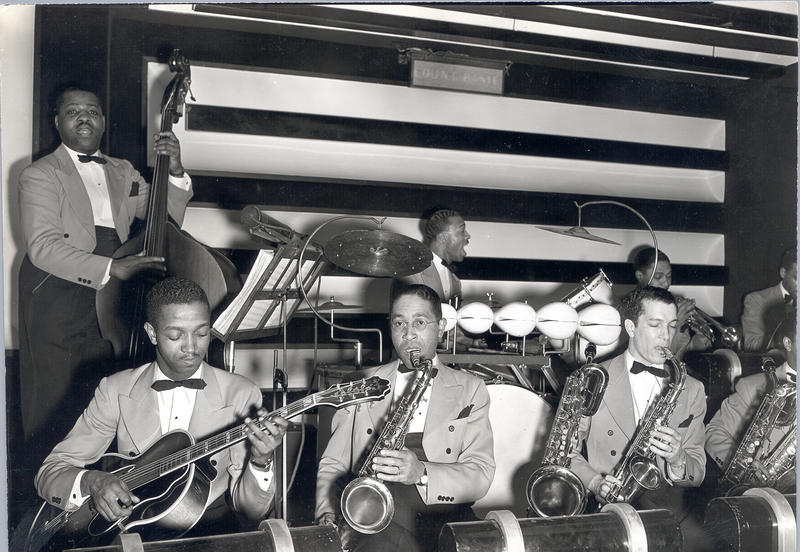 Walter Page, far left, in a photo with the Count Basie Orchestra