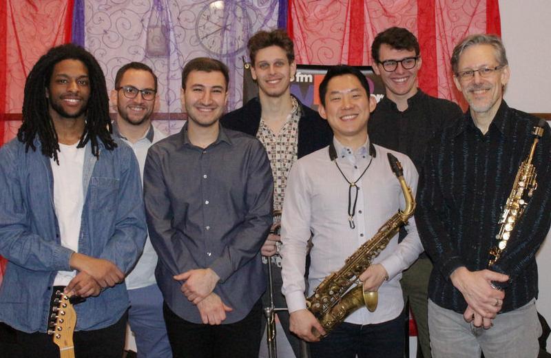 The NYU Wayne Shorter Jazz Ensemble, led by Dave Prieto (far right), during a visit to WBGO.
