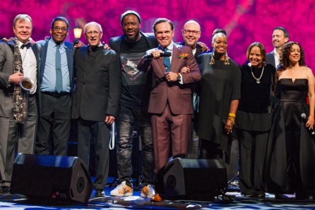 Pictured, left to right:  Igor Butman, Herbie Hancock, David Goloschekin, Robert Glasper, Kurt Elling, John Beasley, Dianne Reeves, Terri Lyne Carrington, Till Bronner, Luciana Souza