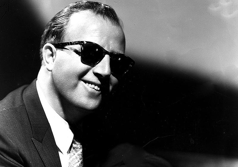 Pianist George Shearing, in a publicity photograph from the 1950s