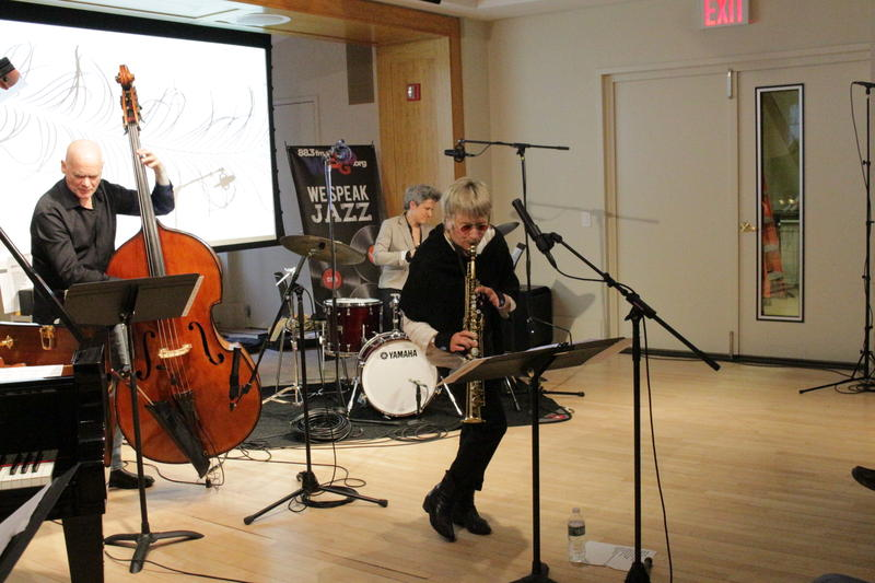 Jane Ira Bloom with Mark Helias on bass and Allison Miller on drums, at the WBGO Yamaha Salon