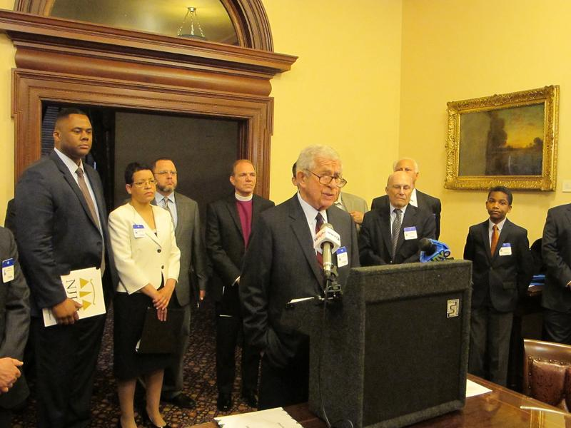 Members of the New Jersey Coalition For Diverse And Inclusive Schools announce their lawsuit