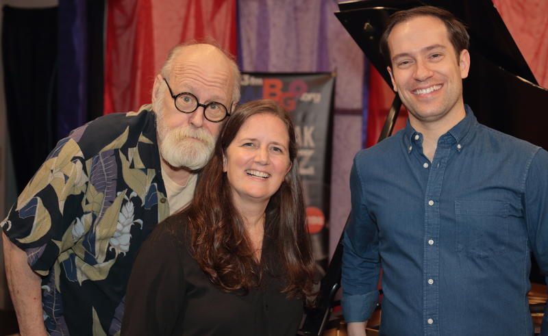 Amy Cervini with Michael Cabe (right) and WBGO's Michael Bourne, during a visit to Singers Unlimited
