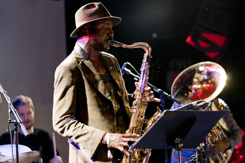 Shabaka Hutchings performs with Sons of Kemet during a British jazz showcase at the 2018 Winter Jazzfest